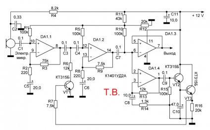 Схема микрофонного усилителя с